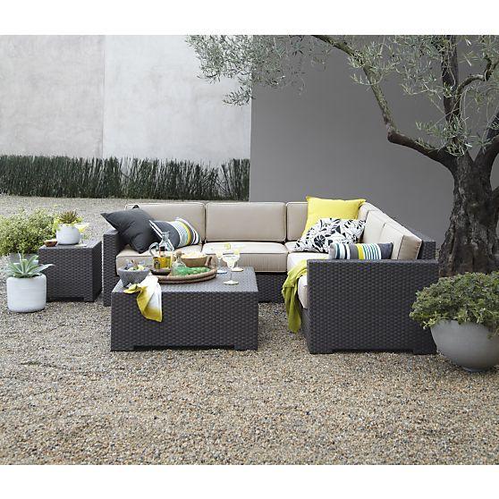 Ventura Modular Left Arm Loveseat With Sunbrella® Stone Cushions In Ventura  | Crate And Barrel