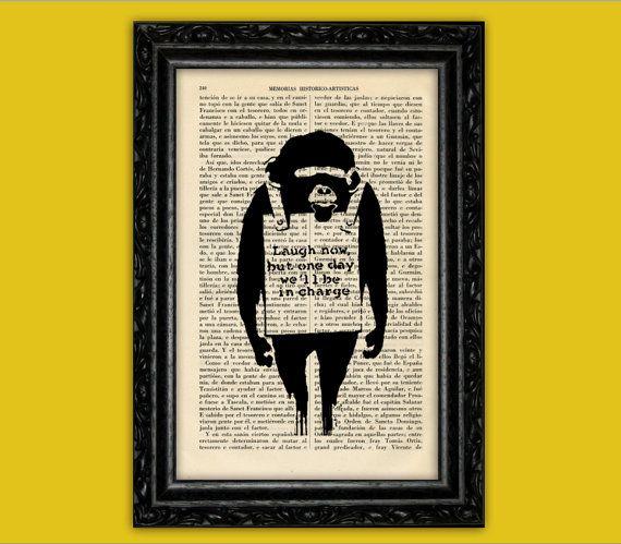 Chimpanzee Art Print - Banksy Monkey Street Art Stencils Graffiti Wall Decor Poster Dictionary Animal Poster Book Art Dorm Room Print Gift