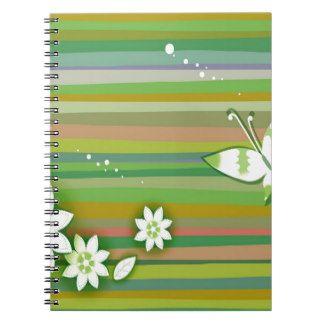 De Warme Groene Kleuren van abstracte Bloemen Ringband Notitie Boek