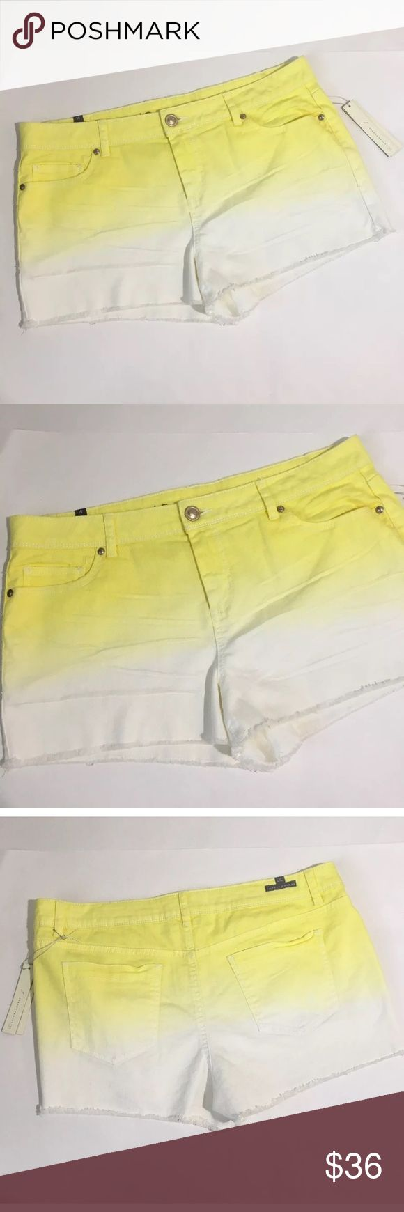 "NWT Lauren Conrad Yellow White Cutoff Jean Shorts New with tags Lauren Conrad yellow and white cutoff jean shorts. Size 16. Measurements 18"" waist laying flat, 12"" waist to hem. LC Lauren Conrad Shorts Jean Shorts"