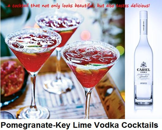 Pomegranate Key Lime Vodka Cocktail – Serves 4: 1/4 cup sugar, 1/4 cup water, 1 cup club soda, 1 cup unsweetened pomegranate juice, 1/2 cup vodka – OUR CHOICE OF VODKA CARIEL BATCH BLENDED, 3 tablespoons fresh Key lime, Crushed ice, Key lime slices – optional. …a cocktail that not only looks beautiful, but also tastes delicious!