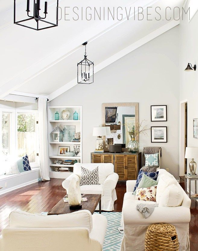light and airy interior design-painted the beams white