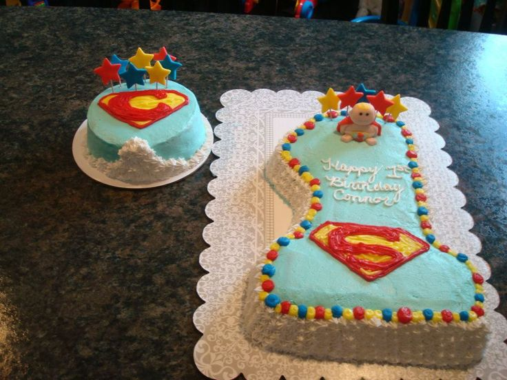1st Birthday Superman cake