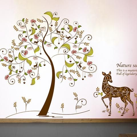 Elegant Wall sticker showing a wonderful winter feel with deer and tree