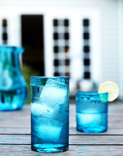 Behind the Scenes: Lauren Conrad's Etched Glassware // @lilmarket, teal glasses
