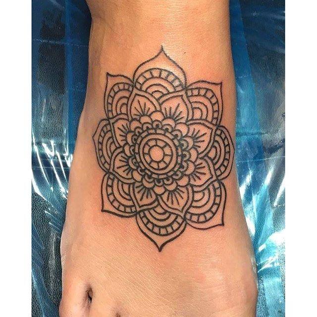 Mandala tattoo on foot done by Jesse Myers #mandalatattoo #mandala