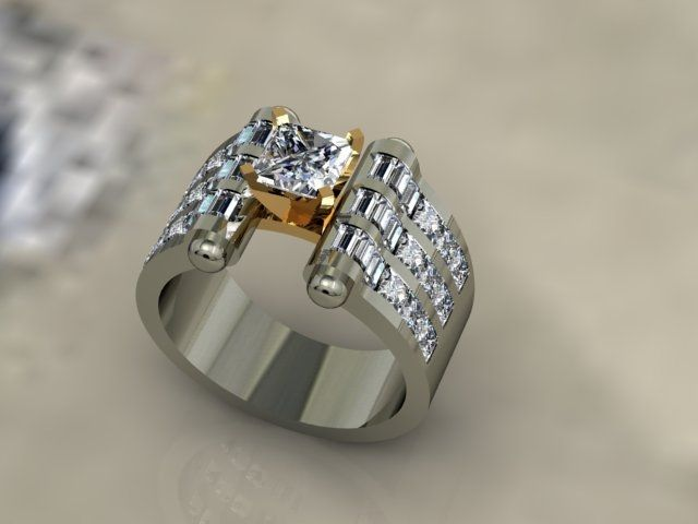 Best One of a kind K White Gold with Yellow Accents Engagement Ring Has ct