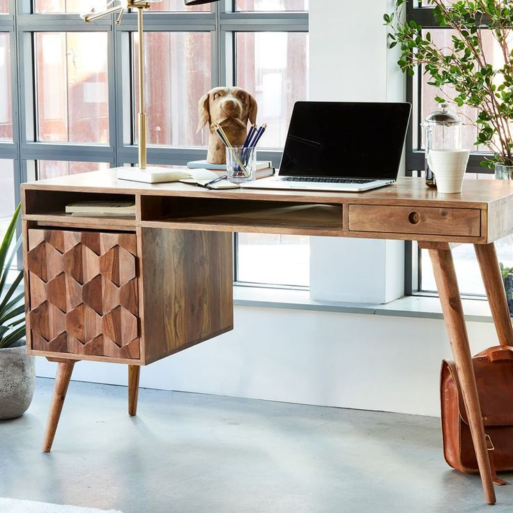 Wood Office Desk With Some Serious Flair With Images Mid
