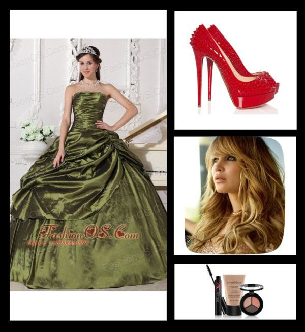 """""""Cheap Olive Green Quinceanera Dress Strapless Taffeta Beading Ball Gown"""" by fancydressesforyou ❤ liked on Polyvore"""