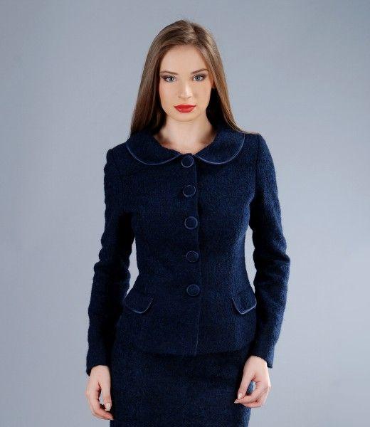 Dark blue loops jacket with wool and alpaca