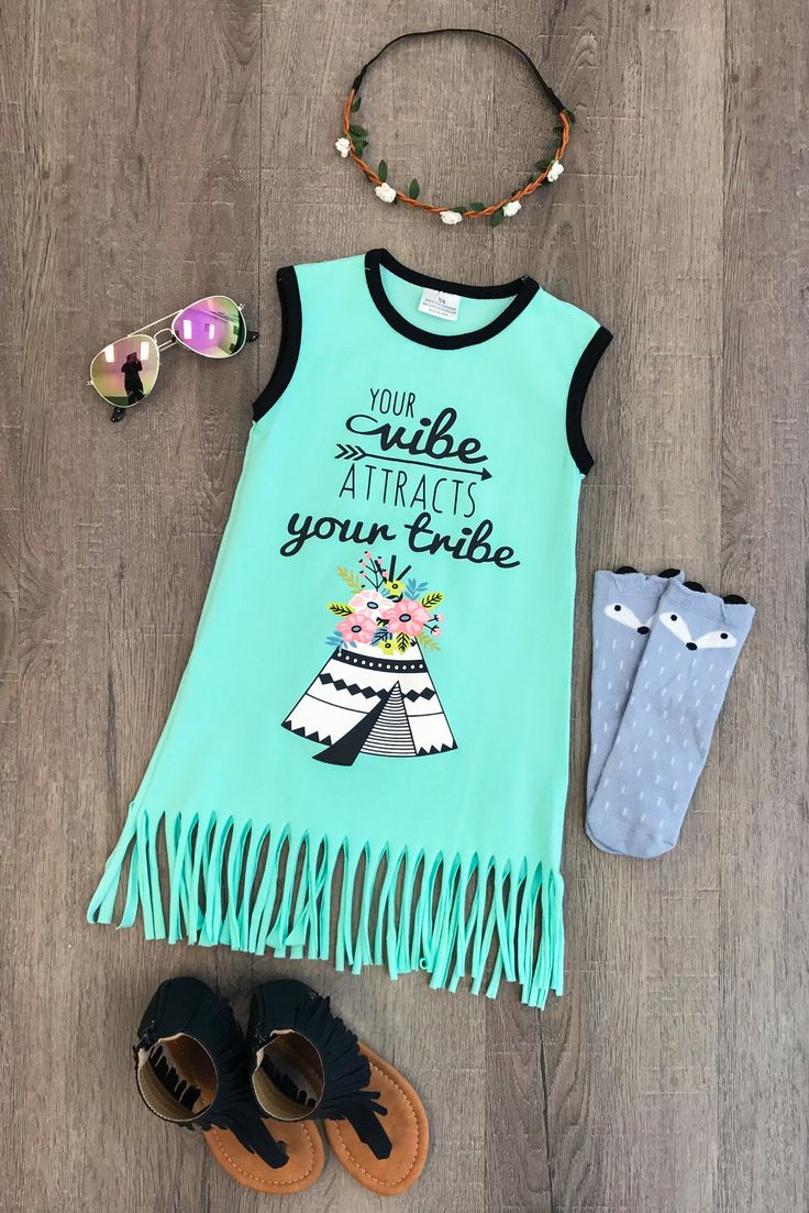 """Your Vibe Attracts Your Tribe"" Mint Fringe Dress"