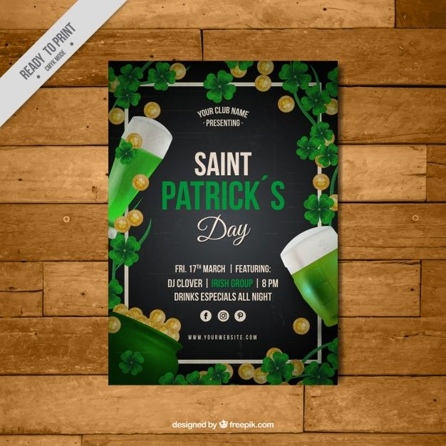 Great leaflet template with coins and beers for st patrick's day Free Vector