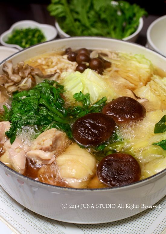 Chicken Hot Pot with Mushrooms and Cabbage in Japanese Dashi Soup (no recipe)