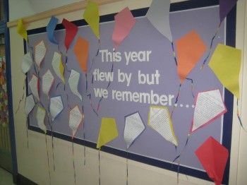 """""""This year flew by but we remember ..."""" and using kite writing templates is a great idea for end of year writing assignment and summer bulletin board display."""