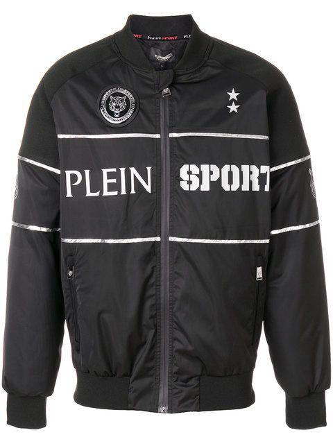 PLEIN SPORT slogan print bomber jacket. #pleinsport #cloth #