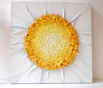 Daisy Painting – mixed media original – White Flower – Constructed in Fabric