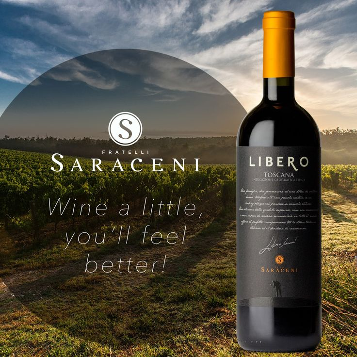 Fratelli Saraceni Libero Super Tuscan... Wine a little, you'll feel better quote