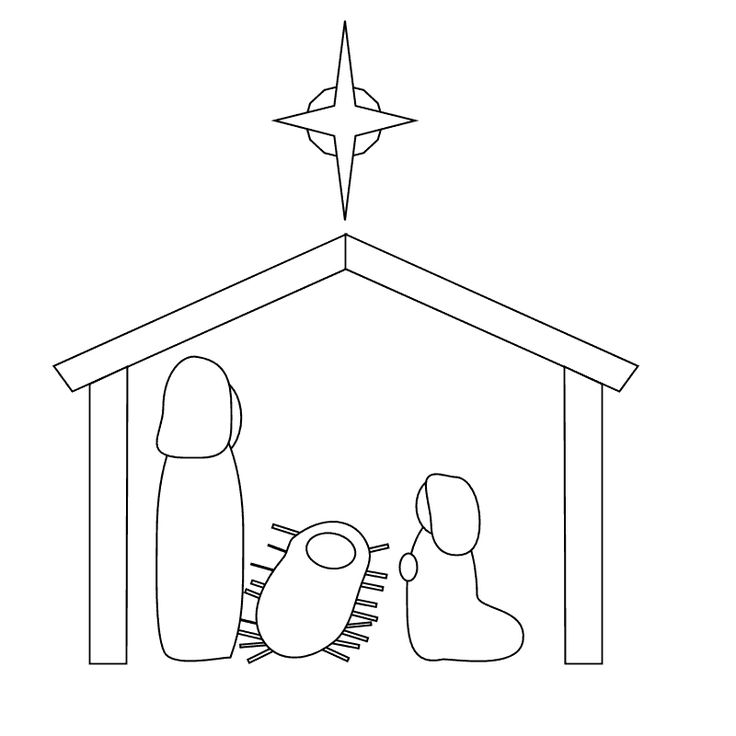 Line Art Nativity : Nativity scene to color for shrinky dink ornament