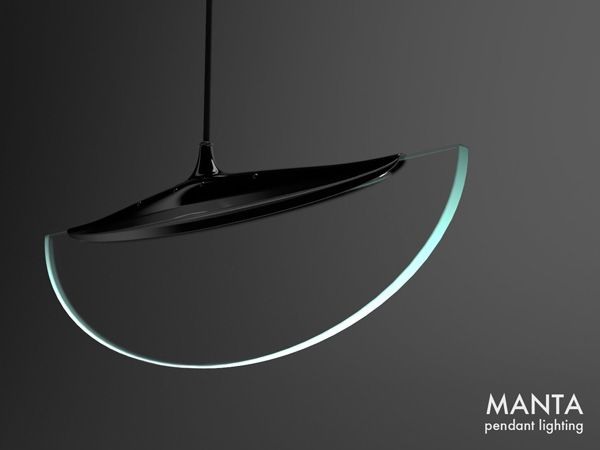 """Manta"" - Edge Lit Light Fixture,   Designer: Robert Lillquist"