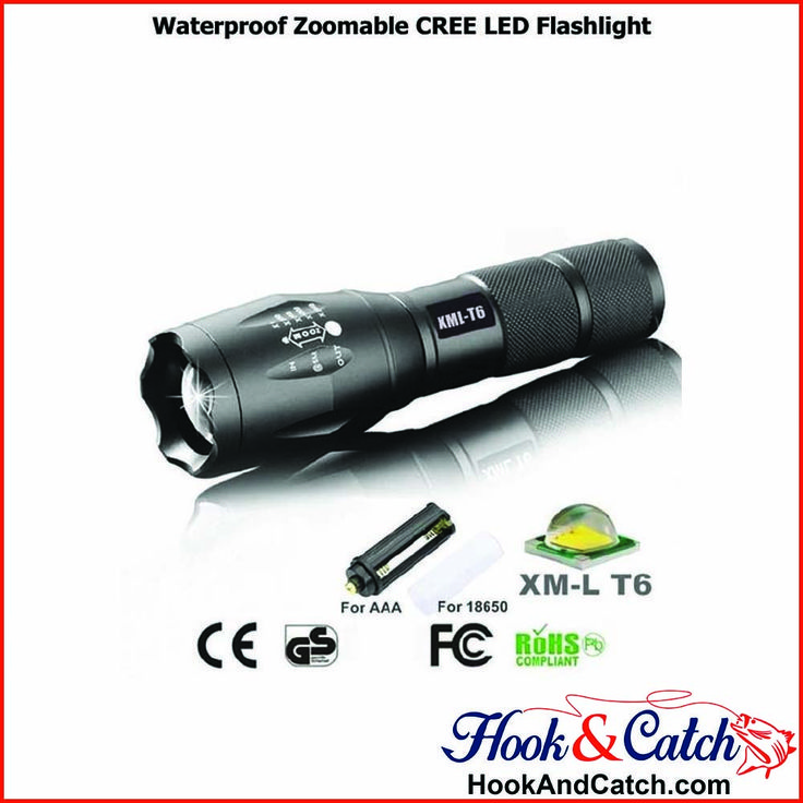 Self Defense,Hard Light,Shock Resistant  https://hookandcatch.com/waterproof-zoomable-cree-led-flashlight/    #WaterProofLEDflashlight #HookandCatch