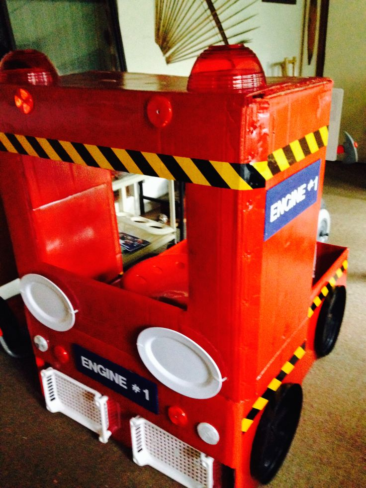 My fire truck made from washing machine boxes, spray paint