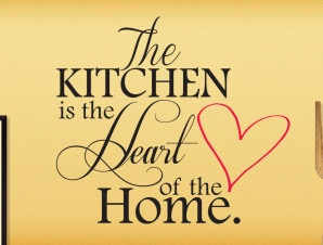 """The Kitchen is The Heart of The Home"" Here is a great kitchen saying you can display in an empty kitchen wall. #kitchen #wall #decor"
