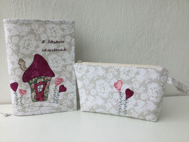 Obal na knížku a kosmetické pouzdro - dárek Matyho pro tety v mateřské školce