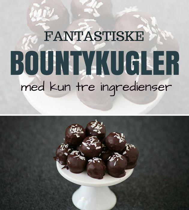 De her vildt lækre bountykugler kan laves med kun tre ingredienser og smager forrygende!