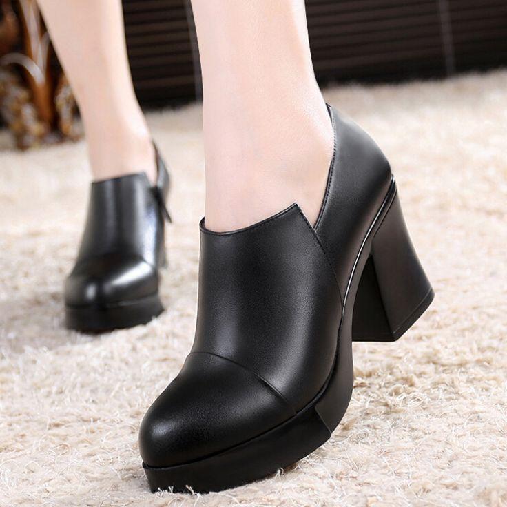 Размер 33 - 41 женщин обувь из натуральной кожи большой размер женские туфли малый размер леди туфли на высоком каблуке удобные мать высок-пятки