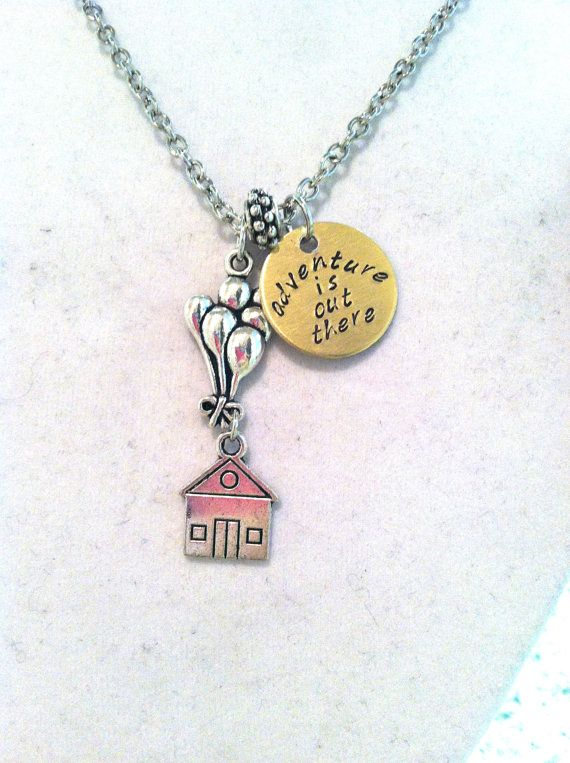 """Disney's """"Up"""" Inspired """"adventure is out there"""" necklace on Etsy, $20.00"""