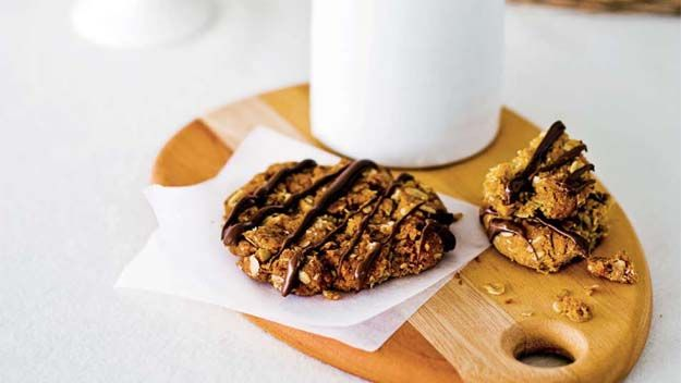 Real Living recipe for chocolate Anzac biscuits.