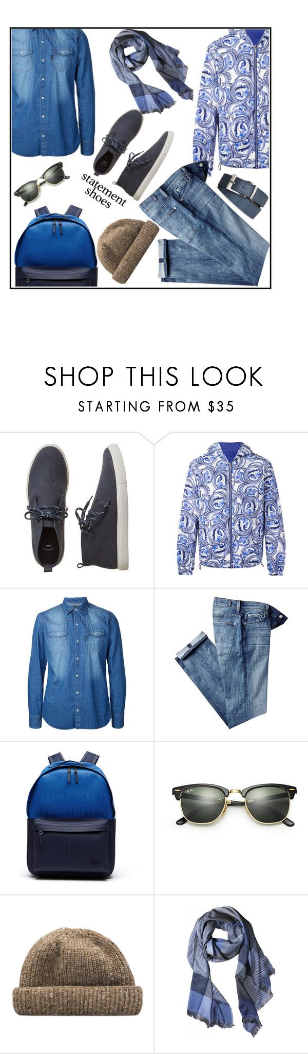 """weekend"" by kleinwillwin ❤ liked on Polyvore featuring Gap, Versace, Guild Prime, 7 For All Mankind, Lacoste, Ray-Ban, Armani Jeans, men's fashion and menswear"