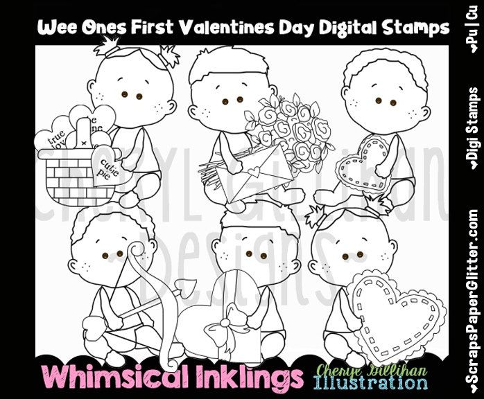 Wee Ones First Valentines Day Digital Stamps, Black and White Image, Graphic, Commercial Use, Instant Download, Line Art, Baby, Toddler by ResellerClipArt on Etsy