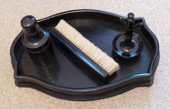 Buy it Now £25.00 - Bargain Price £17.50  An Edwardian Ebony VanityTray - Clothes Brush - Ring Stalk & Perfume Bottle - Collectable / Gift / Present    * An excellent Edwardian Ebony Vanity Tray with accessories  * To include a Clothes Brush - Ring Stalk & Screw Top Perfume Bottle  * All marked Ebony or Real Ebony  * All In excellent used condition  * Ideal for collecting or as a Gift  * Markings - As above  * Circa 1920    IF REQUIRING ANY OTHER EBONY ITEMS LISTED TOGETHER WITH THIS ONE…