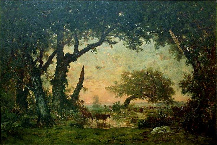 Théodore Rousseau, Edge of the Forest of Fontainebleau, Sunset,1850. Romantic landscape of the Barbizon School.