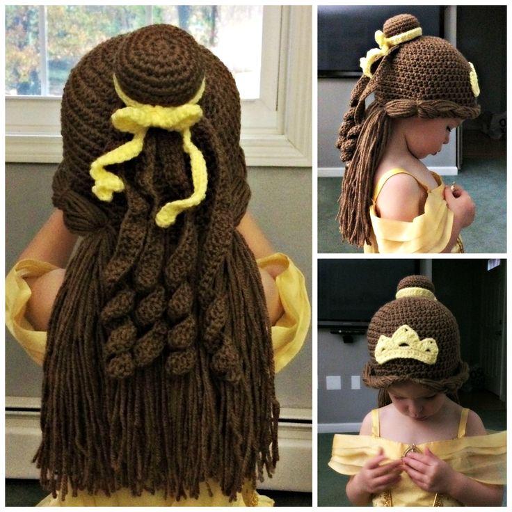 Princess Belle inspired crochet beanie hat/wig