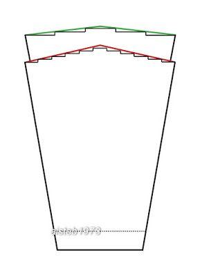"""Окат спущенного рукава, если такой вам нужен, выглядит так, как показано на картинке ниже. Черные ступеньки - это скос, связан укороченными рядами или простым закрытием ступеньками. Верх рукава делится на нечетное количество ровных промежутков, между которыми совершается четное количество поворотов (количество промежутков минус один). Количество поворотов определяет высоту вашего будущего """"оката"""".  Зеленая и красная линия - это просто для выявления формы и визуального сглаживания ступенек. Я…"""