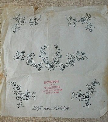 Vintage embroidery transfer floral