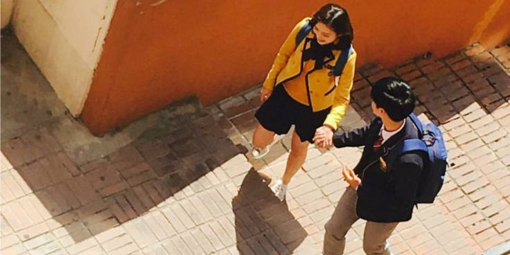 Sungjae and Joy spotted being lovey dovey in school uniforms for 'We Got Married' filming | http://www.allkpop.com/article/2016/04/sungjae-and-joy-spotted-being-lovey-dovey-in-school-uniforms-for-we-got-married-filming
