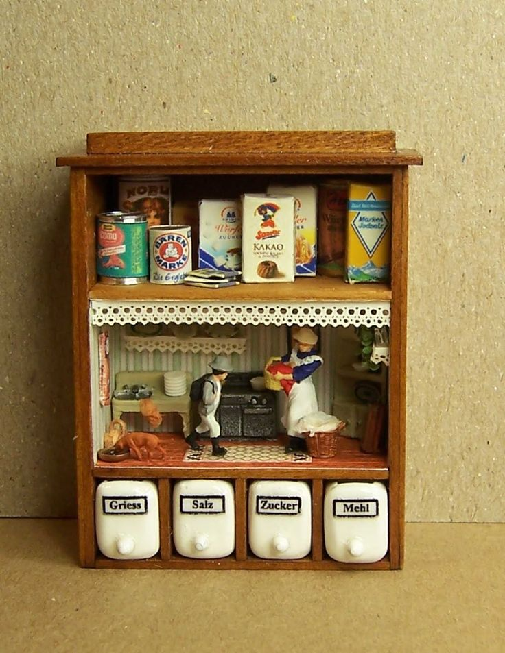 Kitchen Diorama Made Of Cereal Box: Diorama Inside Kitchen Spice Rack