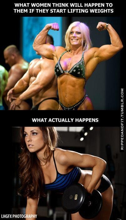 this is so true! Women think by lifting weights they will bulk up, but the truth is women to not naturally have the hormones to get bulky. When women look bulky it is generally because of all of the fat on top of the muscle. Women who look like bodybuilders are generally on some sort of anabolic steroid and/or growth hormone. Lifting weights is what gives women shape and curve. Lift heavy. motivation-gets-you-started-habits-keep-you-going #Fitness #Diet: Work, Weights Lifting, Body Builder, Truths, So True, Weights Loss, Weights Training, True Stories, Lifting Weights
