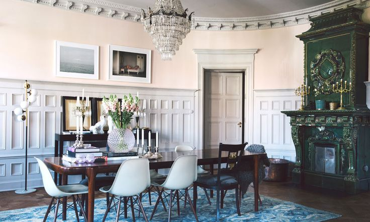 Blush pink dining room in the home of Charlotte and David Zetterström, founders and co-owners of Fabrique in Stockholm, Sweden