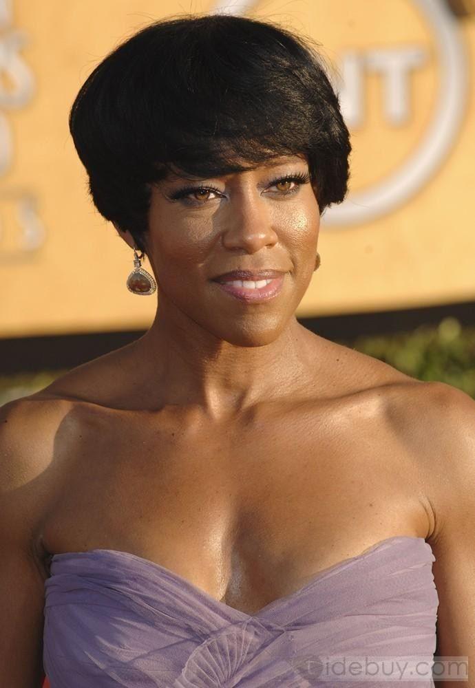 レジーナ?キング人気アフリカ系アメリカ人のヘアスタイルショートストレート約4インチブラックウィッグ