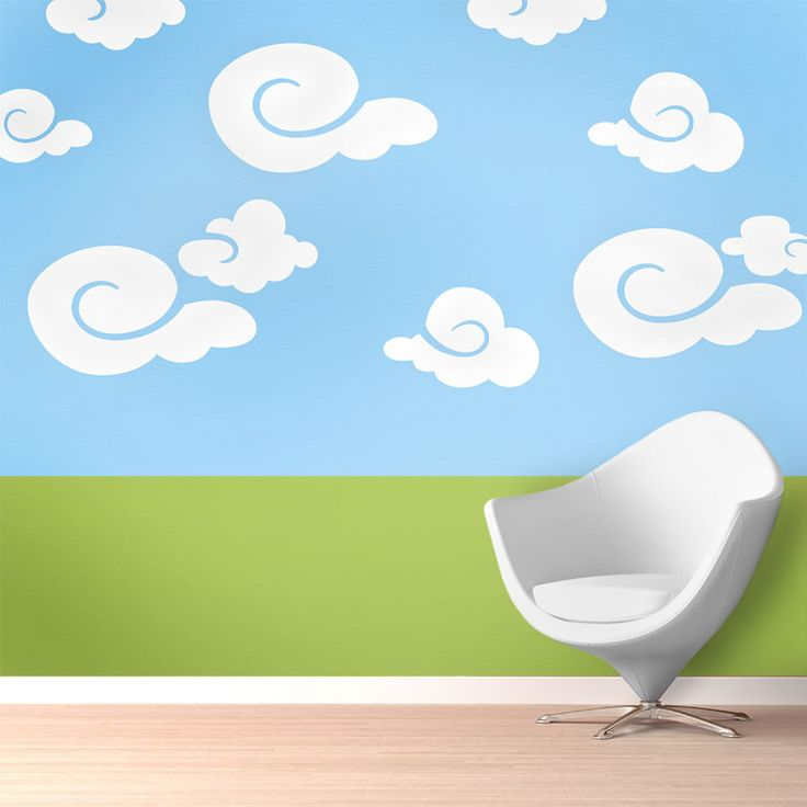 Whimsy Clouds Wall Stencil Kit:  5 individual whimsical cloud stencils create a cloud mural in your baby nursery or kids room no artistic skill required self-adhesive feature makes stenciling