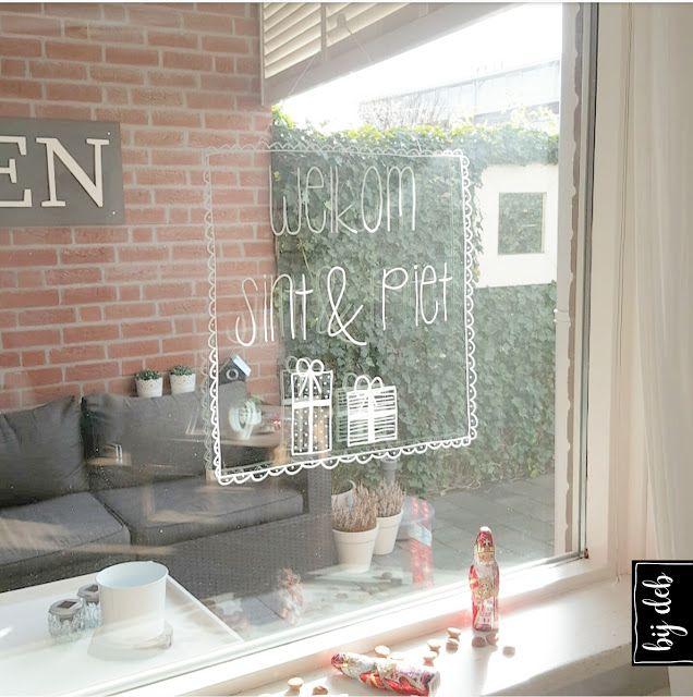 Raam decoratie Welkom Sint & Piet..