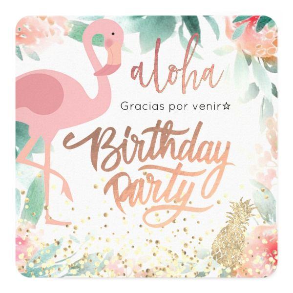Invitación Fiesta De Cumpleaños Elegante Tropical Del Pájaro