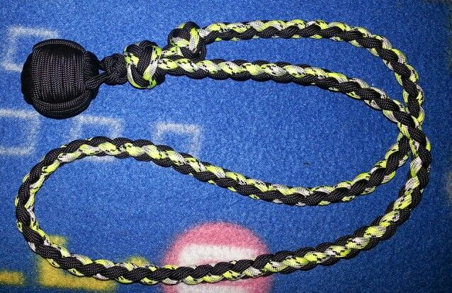 Monkey Fist Defense Lanyard With 4 Strand Round Braid With Sliding 2 Color Diamond Knot To