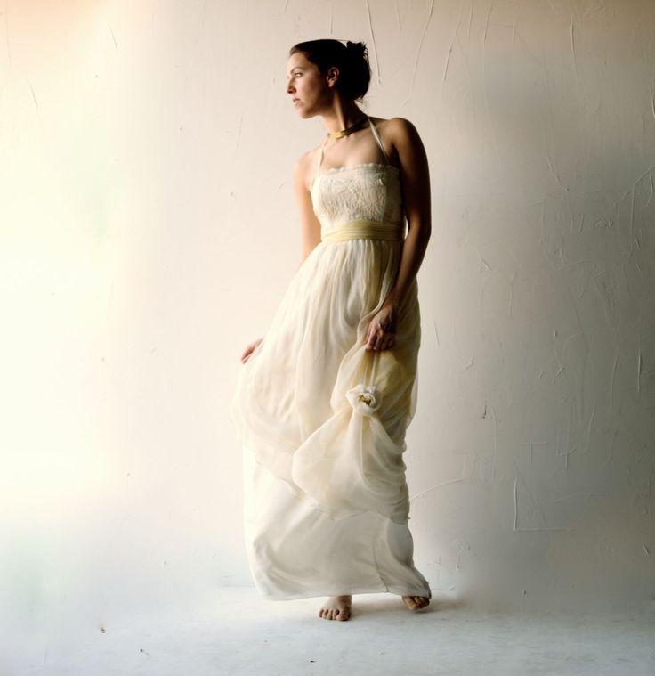 Wedding dress, Yellow wedding dress, Simple wedding dress, Hippie boho wedding dress, pagan wedding dress, Alternative wedding dress, custom by larimeloom on Etsy https://www.etsy.com/listing/222014086/wedding-dress-yellow-wedding-dress