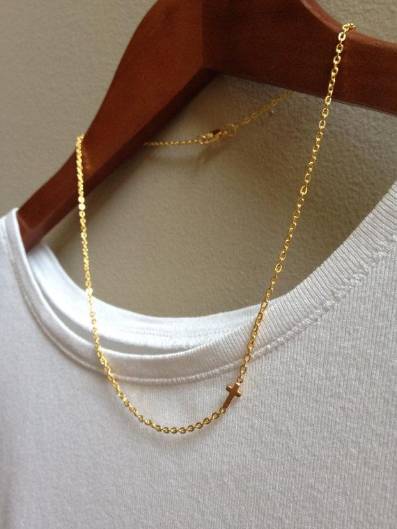 Gold Cross Necklace  Sideways Cross Charm by adieslovelies on Etsy, $13.99: Gold Cross, Sideways Cross
