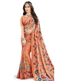 Relible Orange And Multi-Color Satin Saree.
